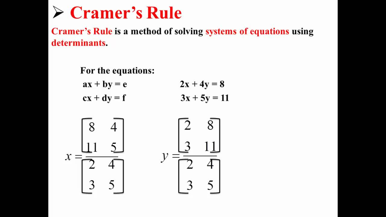 cramer s rule a method for solving