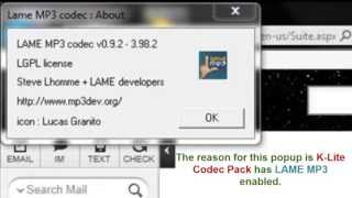 How To Disable LAME Mp3 Popup From Aol Mail