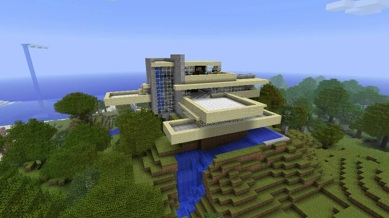 Minecraft - Falling Water House (Frank Lloyd Wright ...
