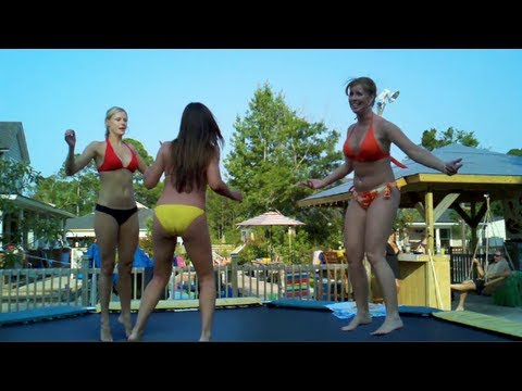 Bikini chicks on trampoline