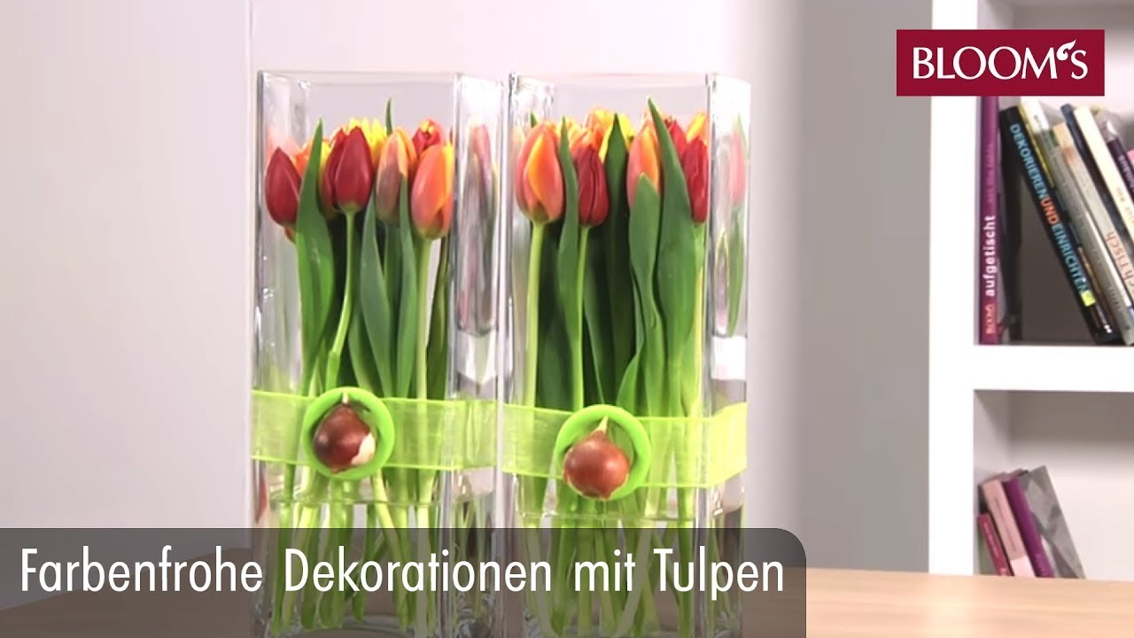 farbenfrohe dekoration mit tulpen youtube. Black Bedroom Furniture Sets. Home Design Ideas