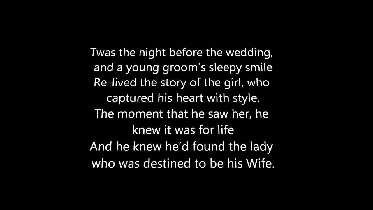 Twas the night before the wedding a poem youtube