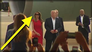Watch: Minutes after Trump walked off plane, Melania walke..