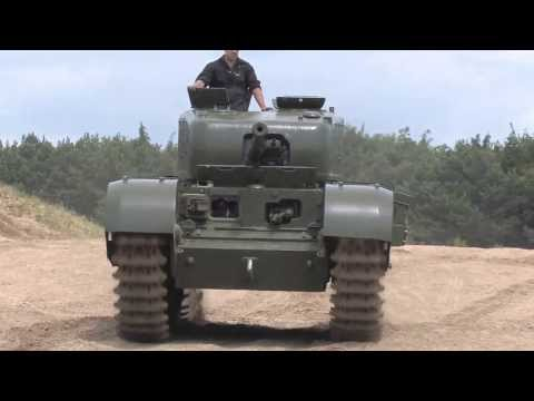 Wartime Churchill Tank driving with latest Challenger 2 Tank