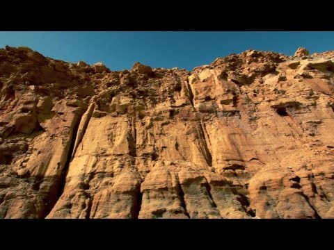 Stock Footage drive-by of desert cliffs in Israel.