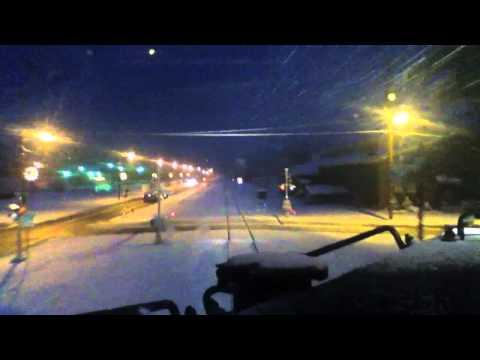 Train Cab Ride:  A snowy winter's eve