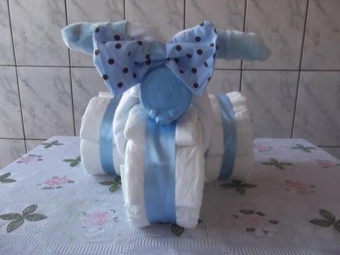 Como fazer triciclo de fraldas para chá de bebe