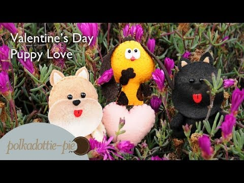 0 Puppy Love, DIY Valentines Day Flower Picks/Gift Idea   PolkadottiePie Felt Craft Tutorial