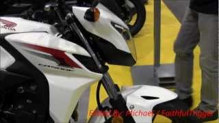 2013 Honda CB500F White Naked Bike Walk Around Canon Vixia