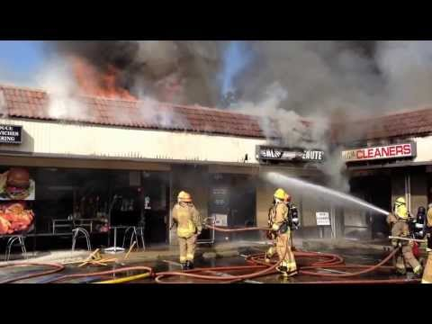 Raw video: 3-alarm strip mall fire in Calif.