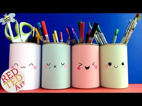 DIY Easy Kawaii Pen Pots DIY - Kawaii School Supplies DIY - inspired by Smiggles DIY