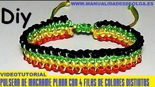 COMO HACER UNA PULSERA DE CUATRO LINEAS PARALELAS DE 4