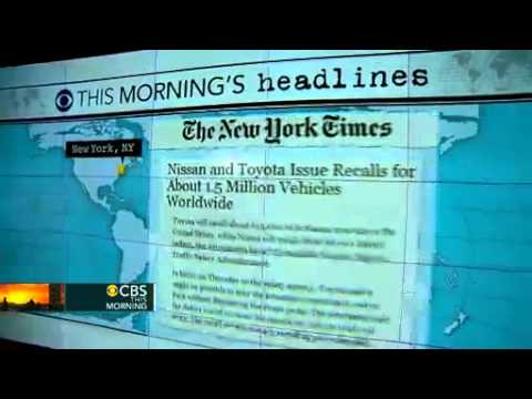 Headlines  Toyota and Nissan to recall 1 5M vehicles   CBS News Video