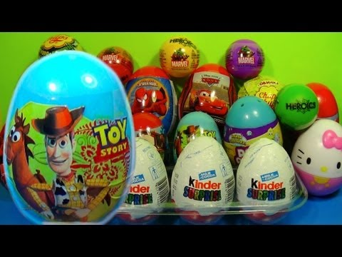 TOY story!1 of 20 Kinder Surprise and Surprise eggs (SpongeBob Cars Hello Kitty TOY Story)