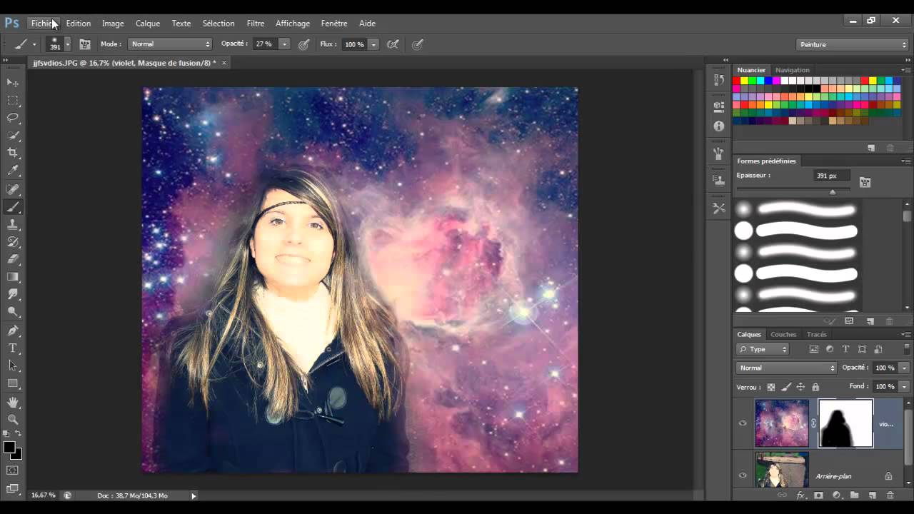 Tutoriel photoshop cs6 fond galaxie croix youtube for Image miroir photoshop