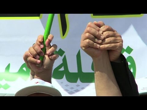 Rally in Gaza harbour against ongoing Israeli blockade