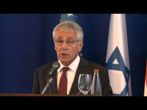 Secretary of defence chuck hagel delivering remarks in Tel Aviv.