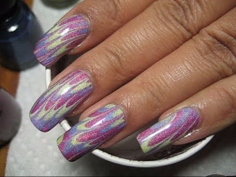China Glaze Tronica 2 Easter Pastels Water Marble Nail Art