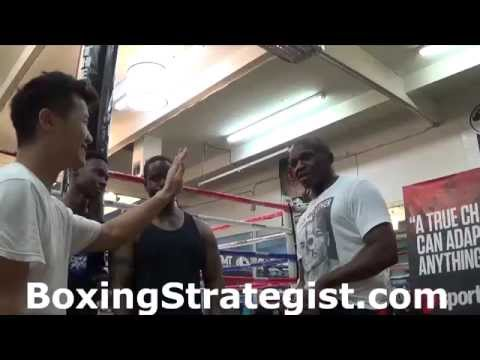Floyd Mayweather Sr. speed test with Chi-Tao Li at the Mayweather Boxing Club