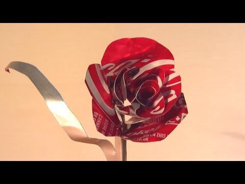 How to Make Coke Can Rose - Valentines Day Gift, How to make a rose out of a Coca Cola can. This video shows a step by step guide for how to turn an empty Coke can into a red rose flower for your valentine,...
