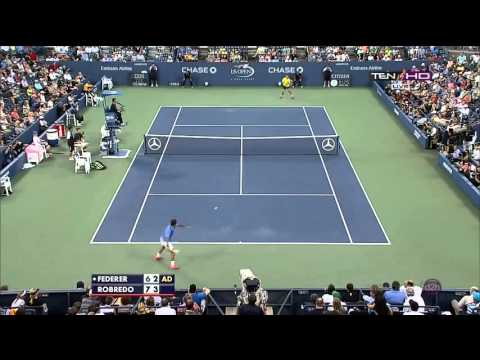 US Open 2013  R4   Set 2 Highlights   Roger Federer vs Tommy Robredo