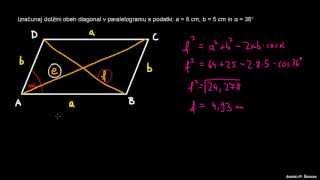 Uporaba kosinusnega izreka v paralelogramu