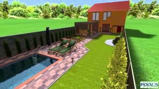 3D návrh záhrady z bazénom