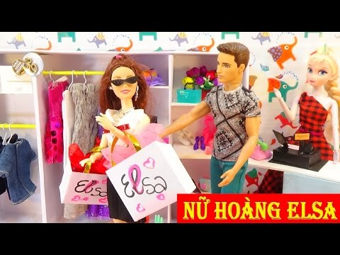 Đồ chơi trẻ em - Búp bê baby dol - Công chúa Barbie đi shopping ở cửa hàng của Nữ hoàng Elsa