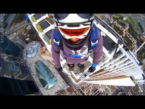 Jump from the roof! The highest building in Europe! B A S E  jumping, illegal