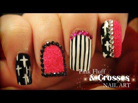 Pink Fluff Crosses Nail Art Pink And Purple Video