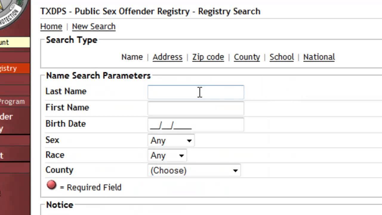 Texas Public Sex Offender Registry