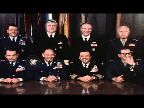 Secretary of Defense Schlesinger with Joint Chiefs of staff at a press conference...HD Stock Footage