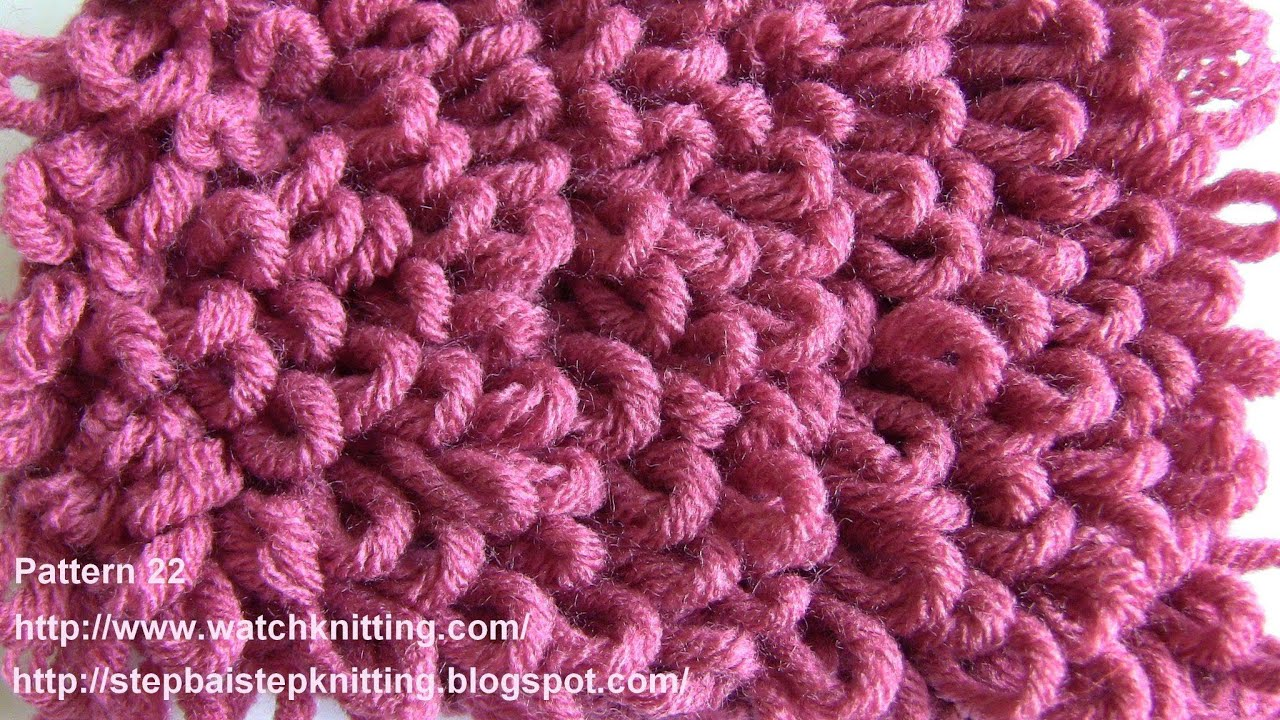 (Loop stitch) - Embossed Knitting Patterns- Free Knitting Tutorials - Watch K...