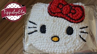 How To make a Hello Kitty cake with icing decoration (cream)