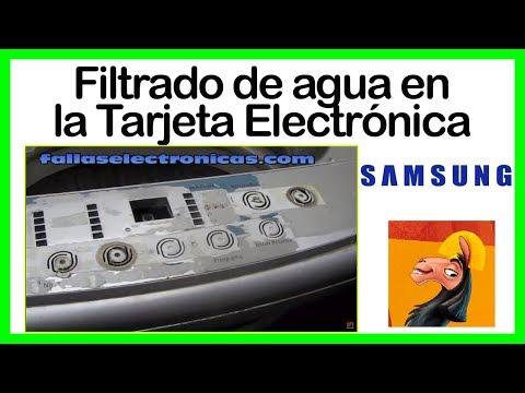 Filtrado de agua a la Tarjeta Electrónica Lavadora Samsung, mica destrozada