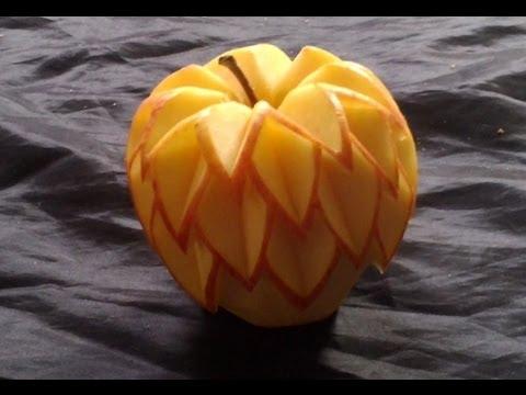 Décoration simple sur pomme, learning free Fruit Carving ...
