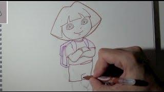Cómo Dibujar A Dora La Exploradora ( Dibujo Del Contorno