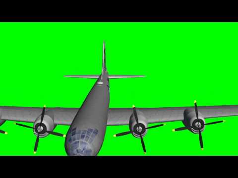 Boeing B-29 Superfortress in flight - different views - green screen effects
