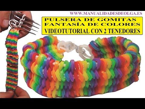 COMO HACER PULSERA DE GOMITAS FANTASÍA DE COLORES CON 2 TENEDORES VIDETUTORIAL BRACELET SIN TELAR
