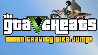 GTA 5 Cheats : Ultimate Moon Gravity Bike Jump! (GTA 5 PS4