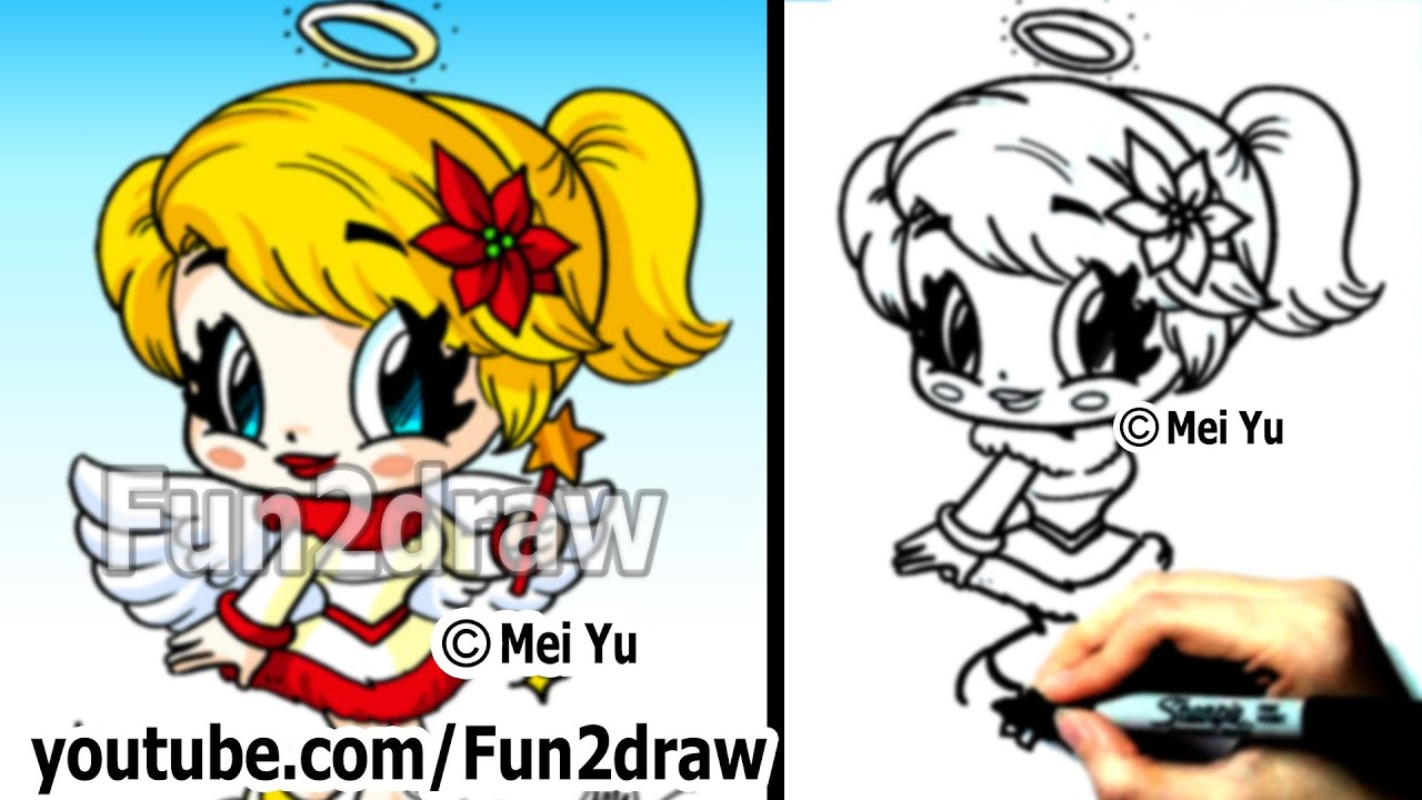 How to draw christmas chibi how to draw an angel draw for Fun to draw people