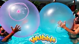 Giant Wubble Bubble Balloons Explosion In Our Pool - Family Fun   Toys AndMe