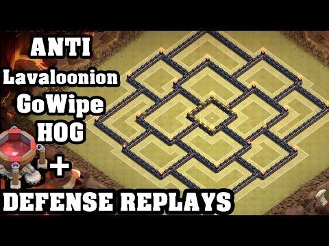 Clash of Clans - Town hall 9 (Th9) War Base + Defense REPLAY - ANTi GoWipe ANTi Lavaloonion ANTi Hog
