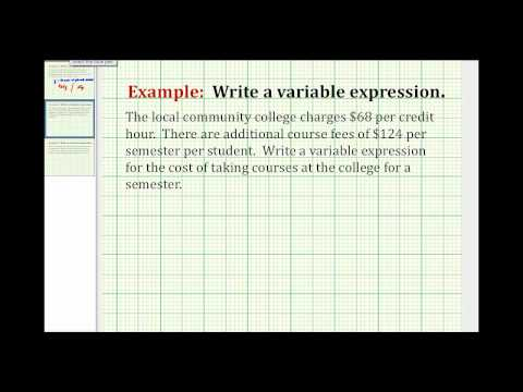 Examples: Writing Variable Expressions