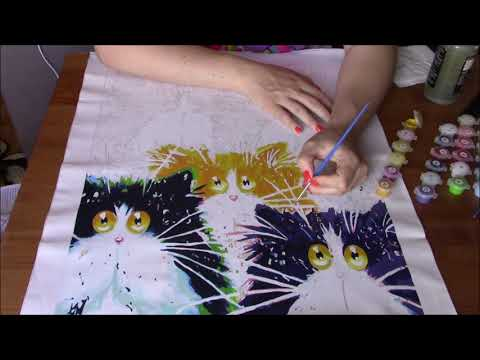 Paint by numbers Timelapse Cute Fluffy Cats with funny cat quotes