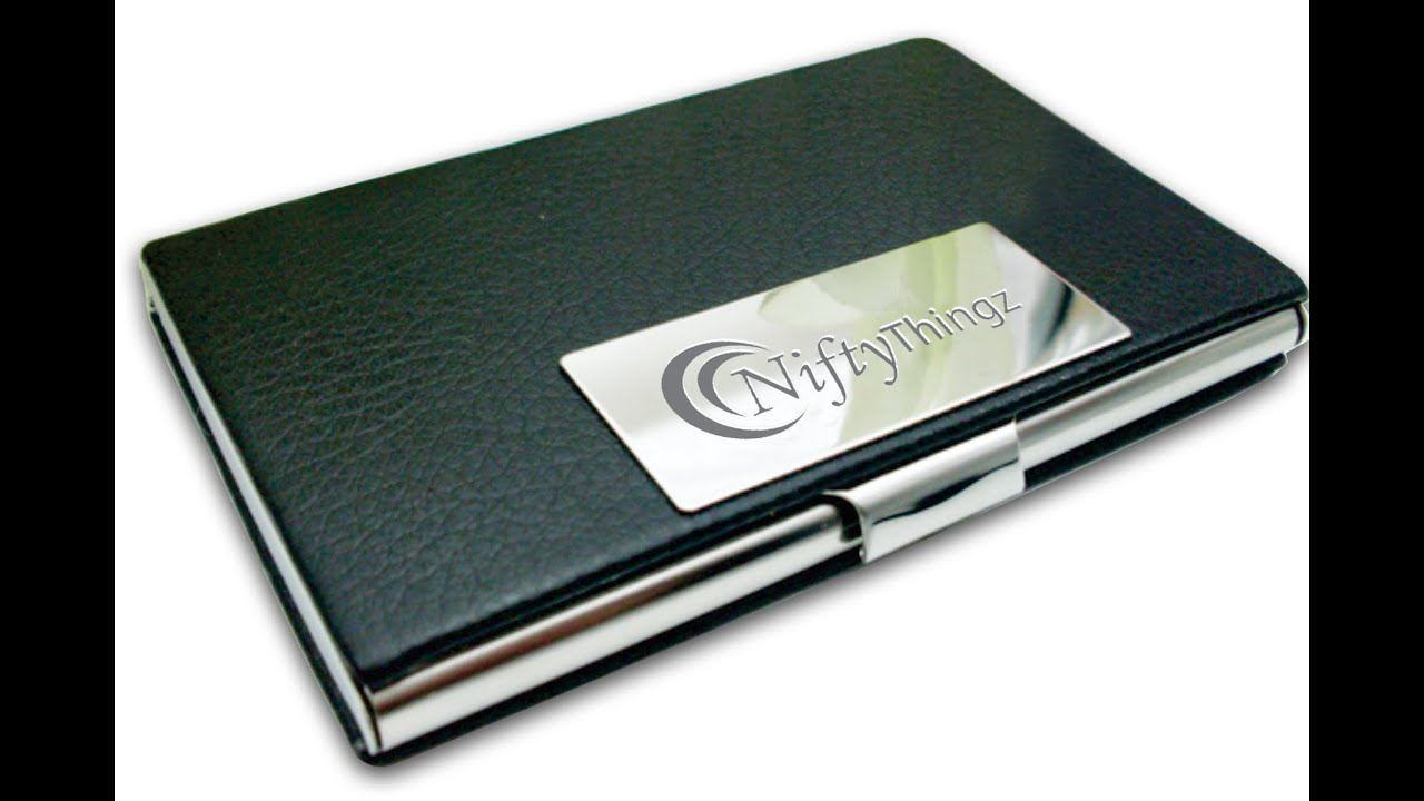 Black Leather Business Card Holder For Men & Women