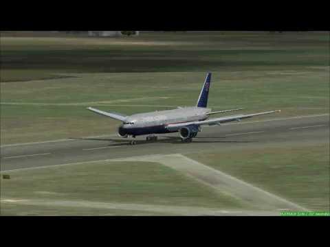 United 777-200LR landing at Cologne-Bonn