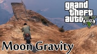 ★ GTA 5 Moon Gravity BMX Jump Off Mountain!