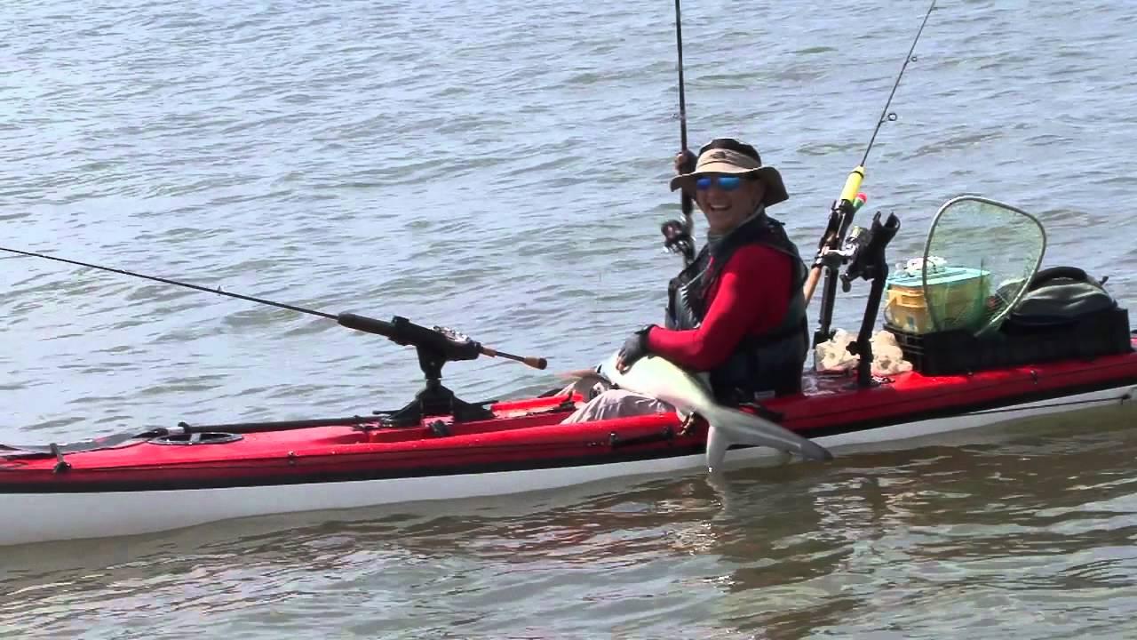 Kayak fishing for sharks youtube for Youtube kayak fishing
