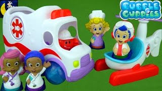 RARE Bubble Guppies Clambulance Rescue Copter Check Up Center Ambulance Bus Doctor Goby & Dr Molly!
